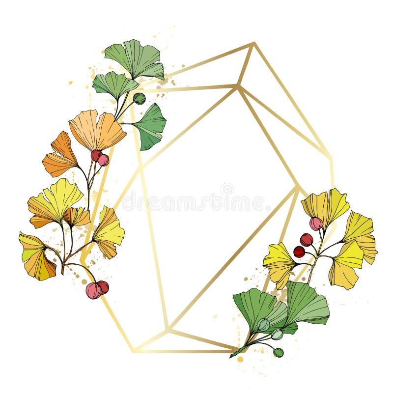 Free Vector. Ginkgo Leaf. Frame Golden Crystal. Geometric Quartz Polygon Crystal Stone Polyhedron Mosaic Shape Amethyst Gem. Royalty Free Stock Photography - 132878267