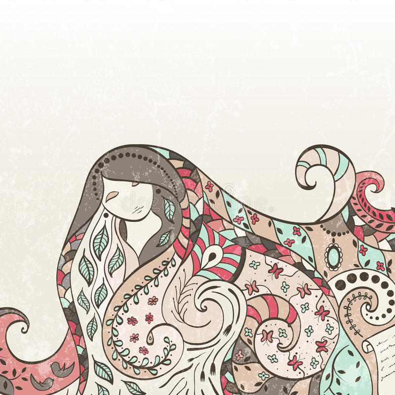 Download Vector girl stock vector. Image of hair, birds, lips - 29461798