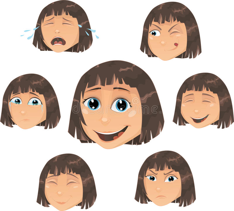 Download Vector Girl Character With Various Face Ecpressio Stock Vector - Image: 20683651