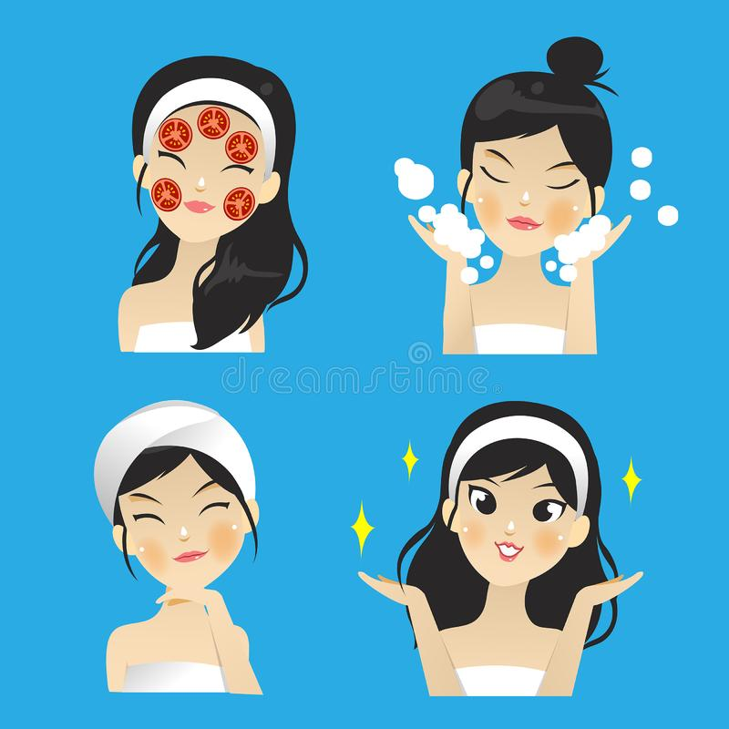 Vector of girl facial mask with tomato slice mask vector illustration
