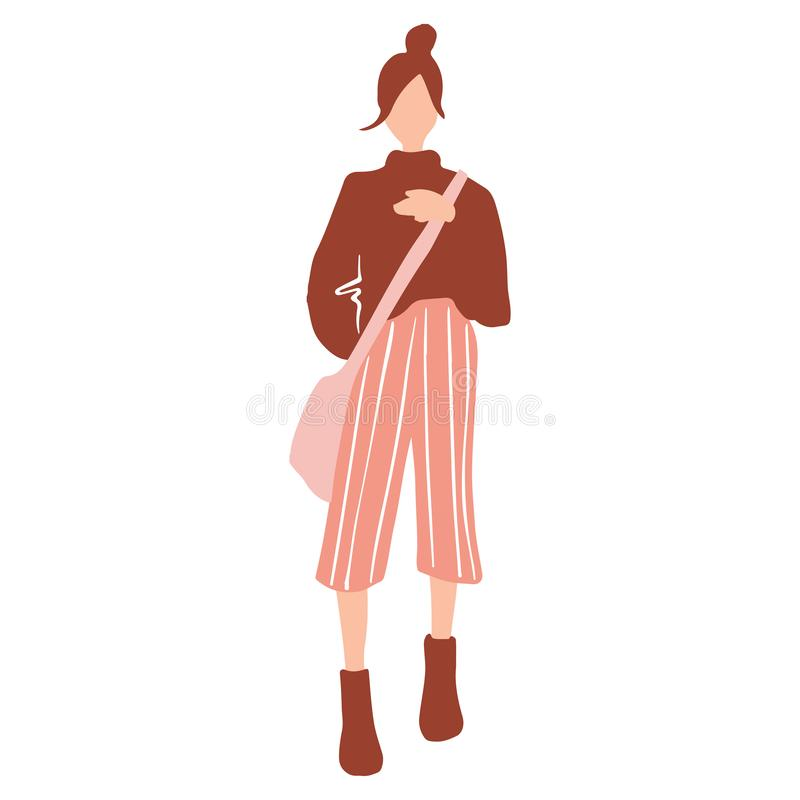 Vector girl in a flat style. Young woman with bag dressed in trendy clothes. vector illustration