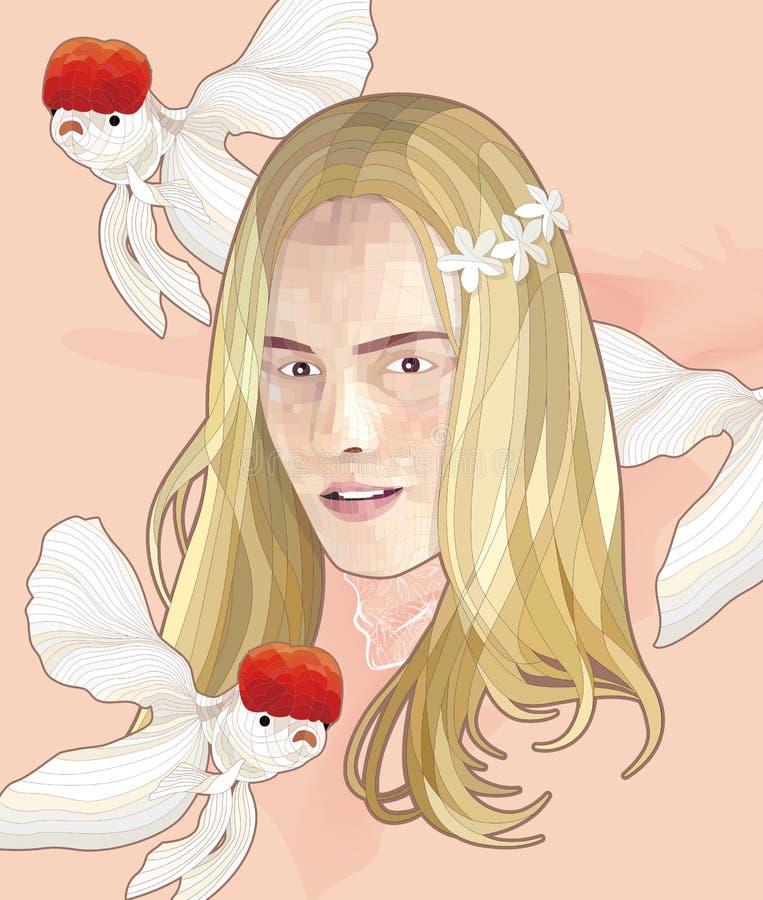 Vector Girl & Goldfish Illustration vector illustration