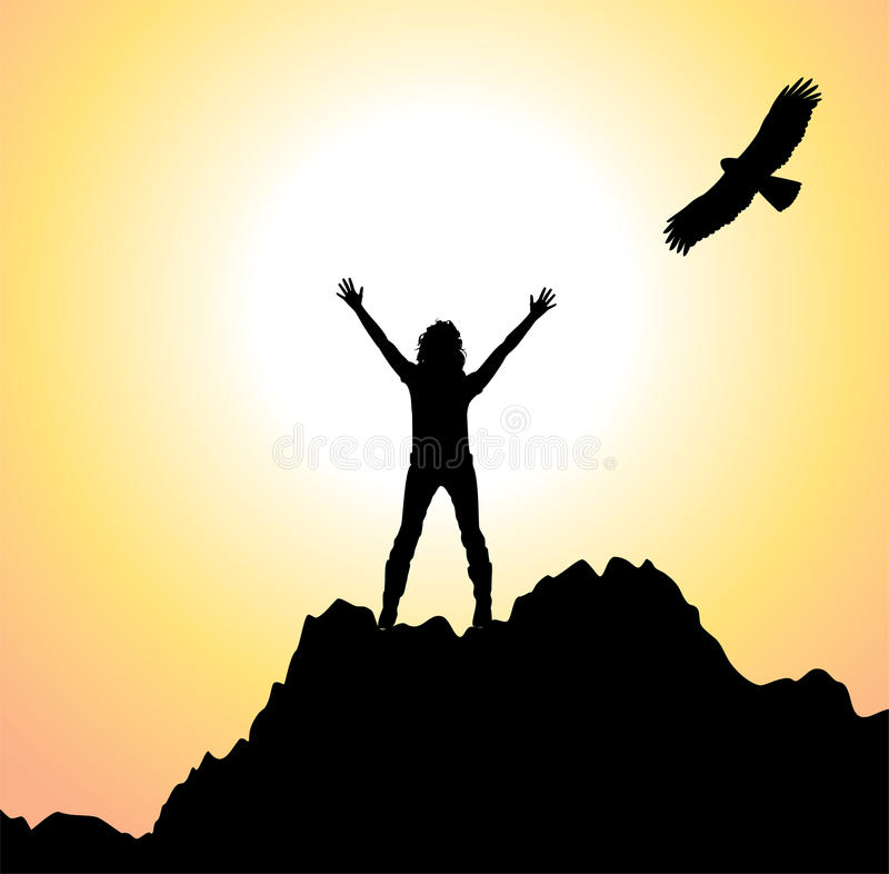 vector girl on the mountain and flying bird stock illustration