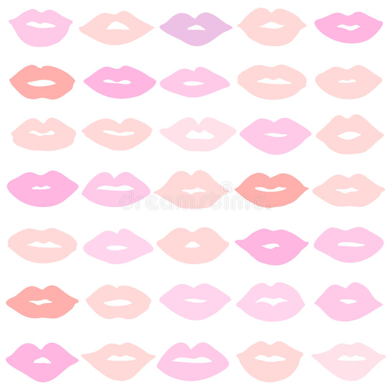 Vector girl pink lips icons set. Vector girl lips icons set isolated on background royalty free illustration