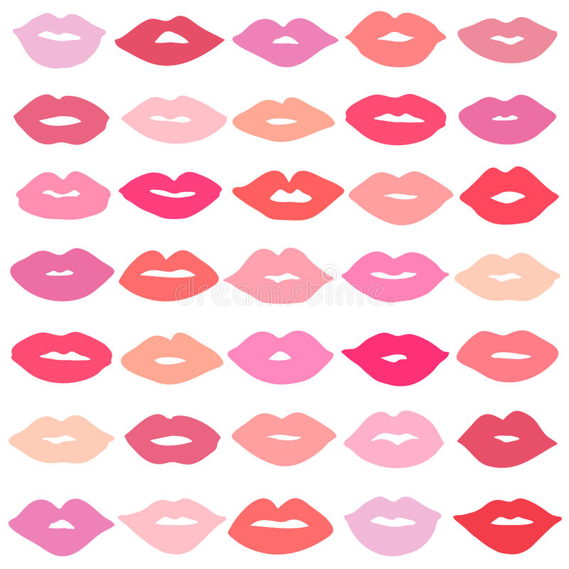 Vector girl red lips icons set. Vector girl lips icons set isolated on background royalty free illustration