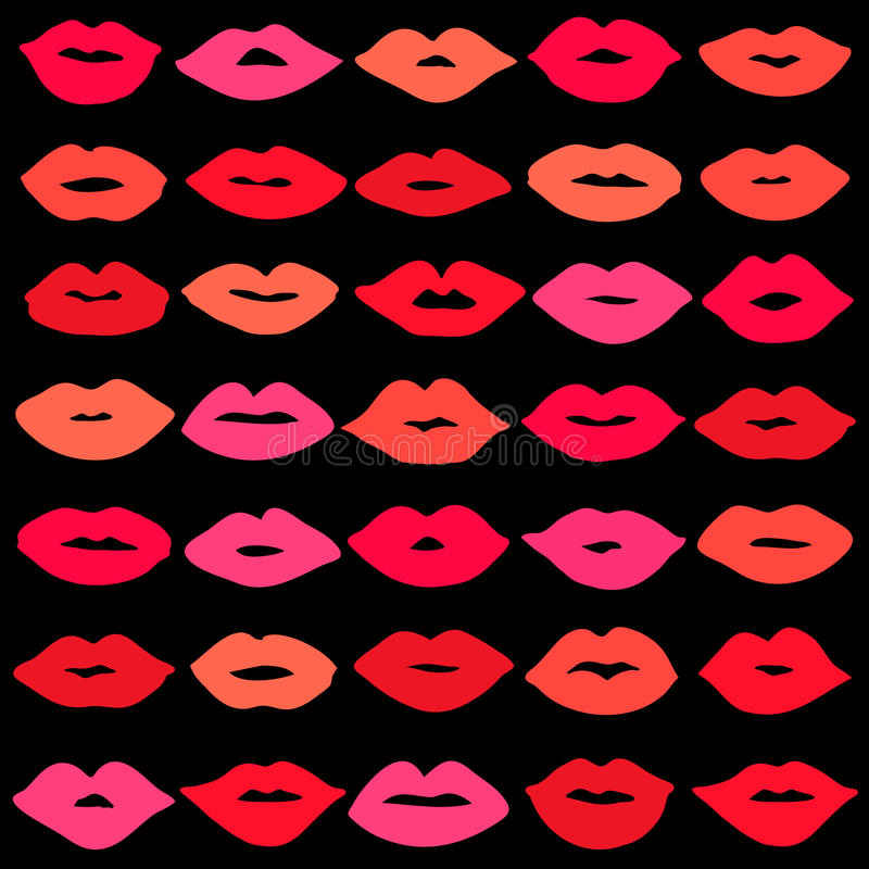 Vector girl red lips icons set. Vector girl lips icons set isolated on background vector illustration