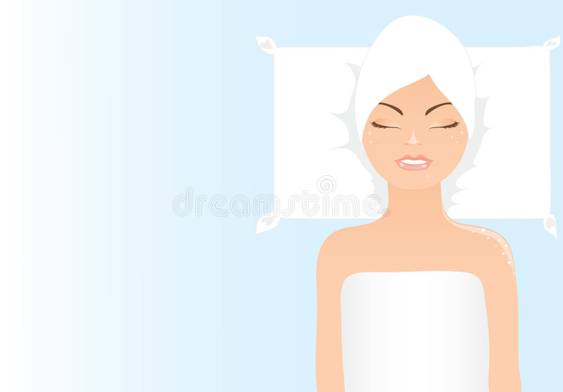Vector girl relaxing in spa vector illustration
