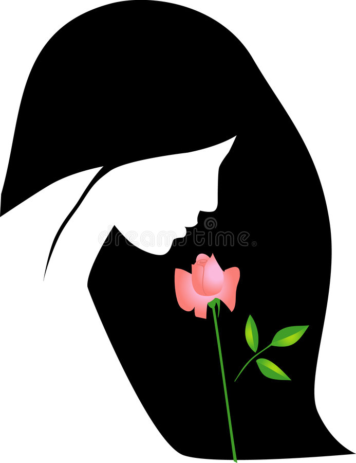 Download Vector girl with rose stock vector. Image of avatar, icon - 7136200