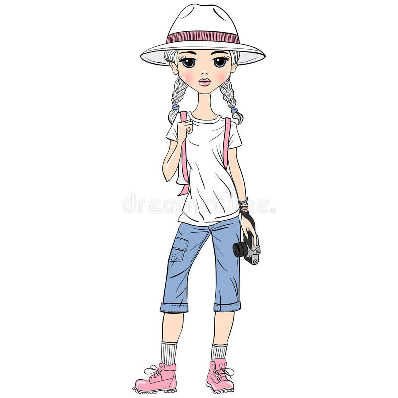 Vector girl traveler with photo camera stock photos