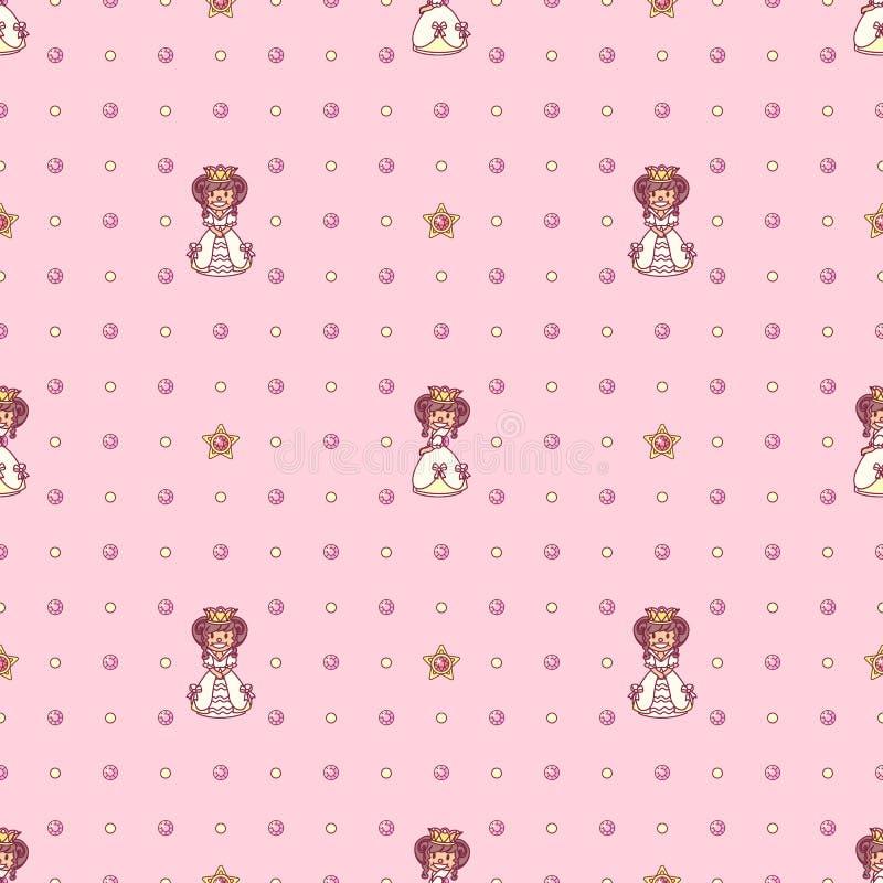 Vector girlish seamless pattern stock illustration