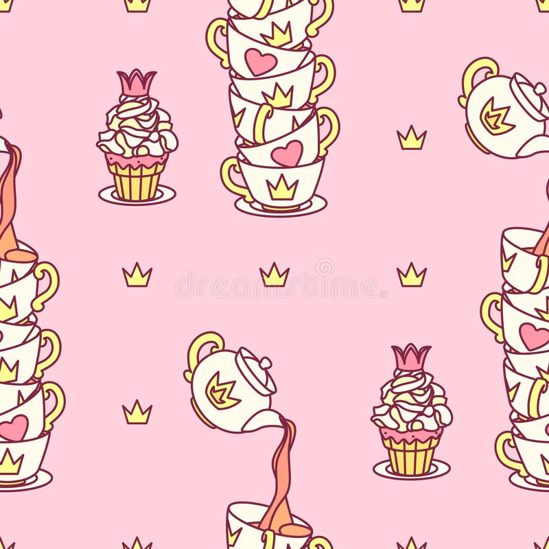 Vector girlish seamless pattern vector illustration