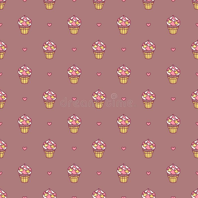 Vector girlish seamless pattern stock illustration