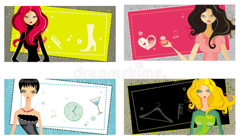 Vector girls cards royalty free illustration