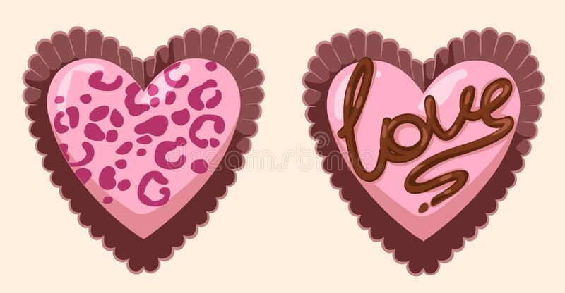 Vector girly pink glamorous heart-shaped chocolates out of the box stock illustration