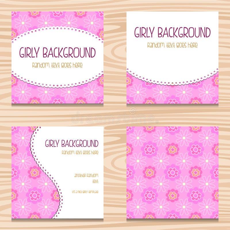 Vector Girly Simple Wedding Card Template Floral Pattern Pink - Simple wedding card template