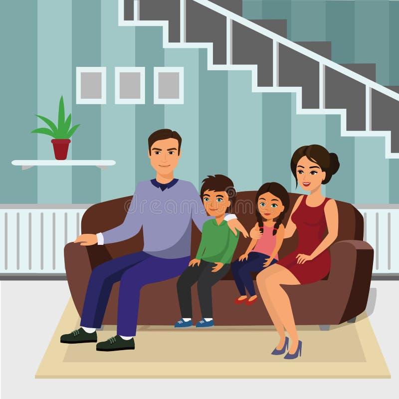 Vector glückliche Familie der Illustration im Wohnzimmer, das auf dem Sofa sitzt Vater, Mutter, Sohn und Tochter, die zusammen si vektor abbildung