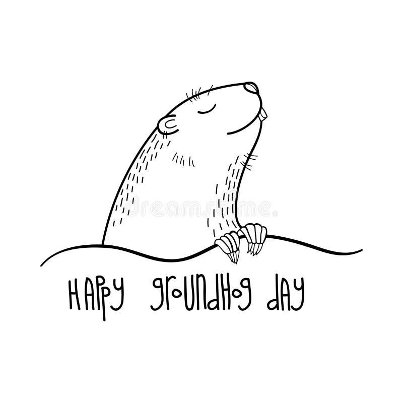 Vector glückliche Groundhog-Tageskarte mit Entwurf nettem groundhog oder Murmeltier oder Waldmurmeltier im Schwarzen lokalisiert  stock abbildung