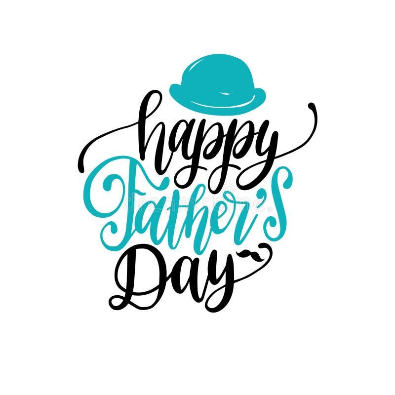 Vector glückliche kalligraphische Aufschrift des Vatertags für Grußkarte usw. Handbeschriftungsillustration mit Melone lizenzfreie abbildung