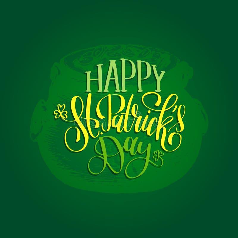 Vector glückliche St- Patrick` s Tageshandbeschriftungs-Grußkarte, Plakatdesign Skizziertes irisches Symbol auf grünem Hintergrun lizenzfreie abbildung