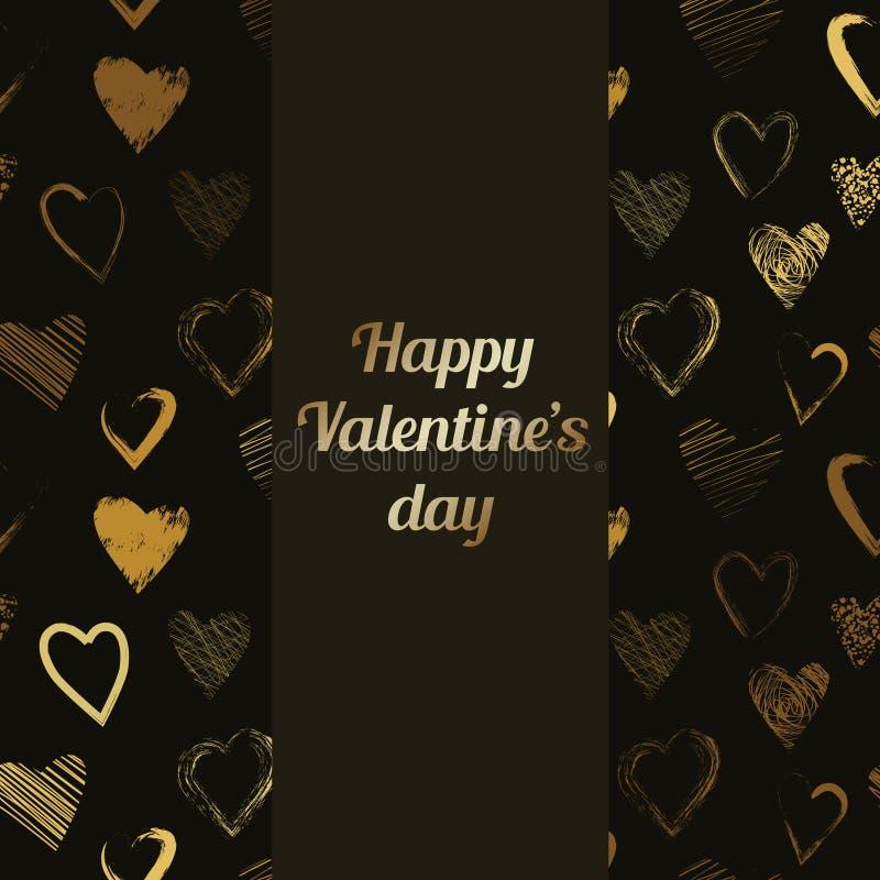 Vector glückliche Valentinsgruß-Tageskarte mit kalligraphischem Bürstenherzmuster lizenzfreie stockbilder