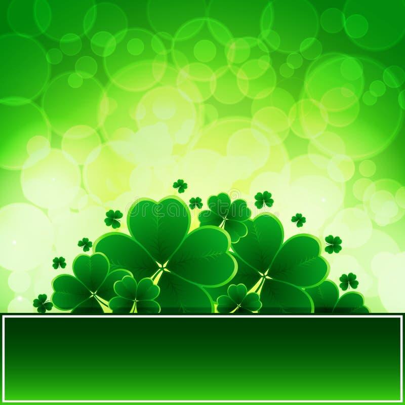 Vector glücklichen Heiliges Patricks-Tageshintergrund mit Klee lizenzfreie abbildung
