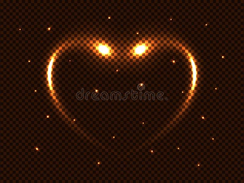 Vector glühende Neonblitze der goldenen Magie des Kosmos, Herz und Sterne, Lichteffekt des Raumes des grellen Glanzes auf einen t lizenzfreie abbildung