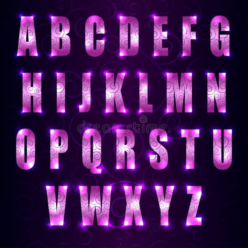 Vector glühenden Guss mit Strudeln auf dunklem purpurrotem Hintergrund stock abbildung