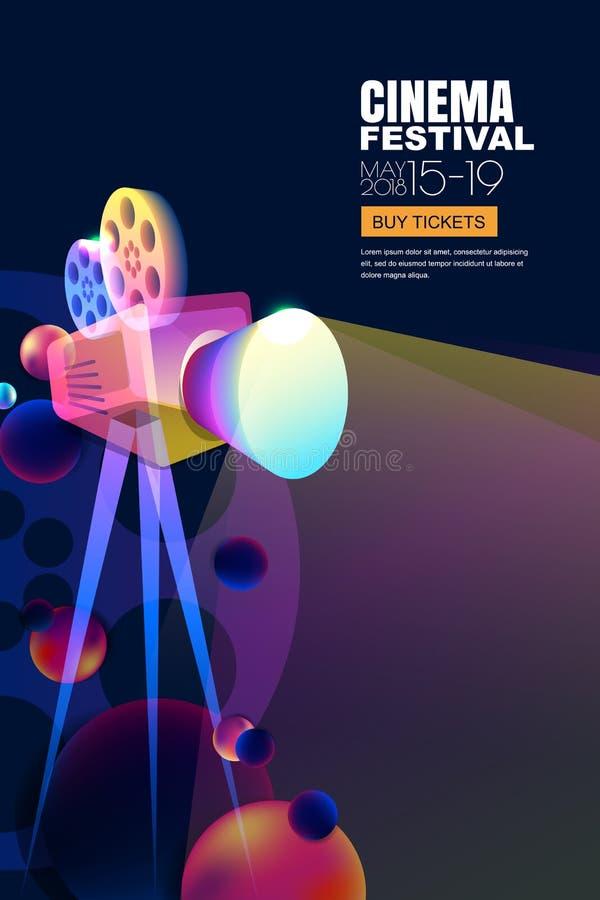 Vector glühendes Neonkinofestivalplakat oder Fahnenhintergrund Bunte Filmkamera der Art 3d mit Filmscheinwerfer stock abbildung