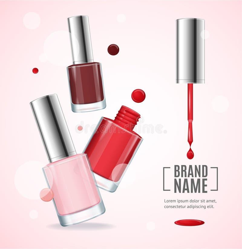 Vector Glanz-rote bunte Nagel-Lack-Anzeigen, Illustration 3d lizenzfreie abbildung