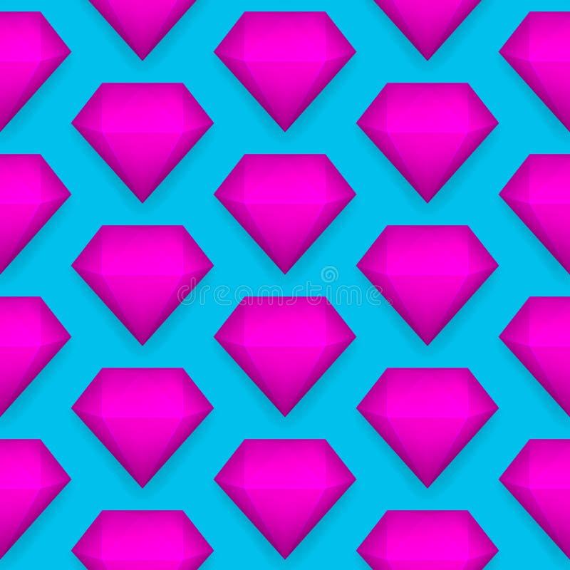 Vector glanzend diamant naadloos patroon royalty-vrije illustratie