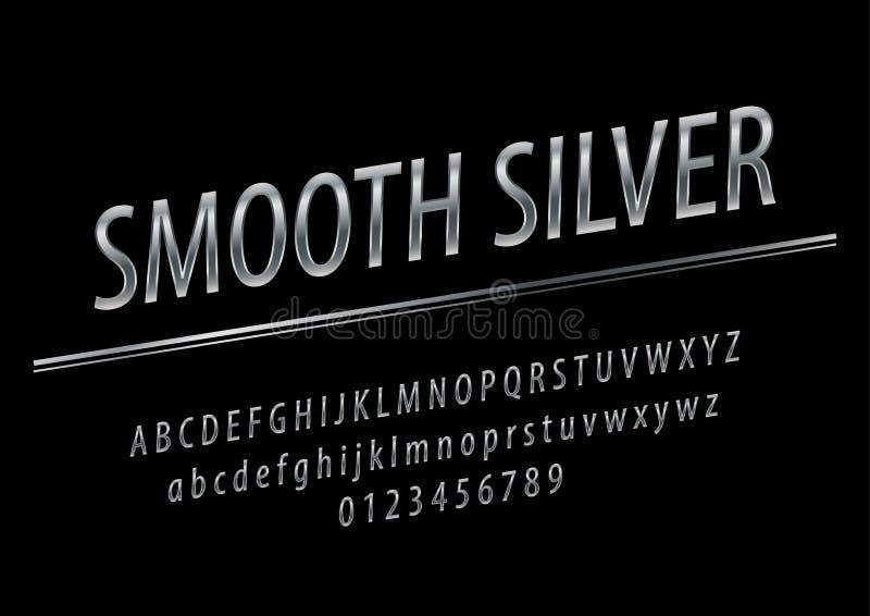 Vector glanzend Vlot tekenzilver Elegante Zilveren geroteerde Alfabetletters, Getallen en Symbolen stock illustratie