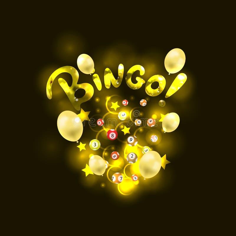 Vector Glanzende Bingo-Loterijbanner, Gloeiende Lichte Vlekken, Ballons, Sterrenconfettien en Loterijballen met Aantallen stock illustratie