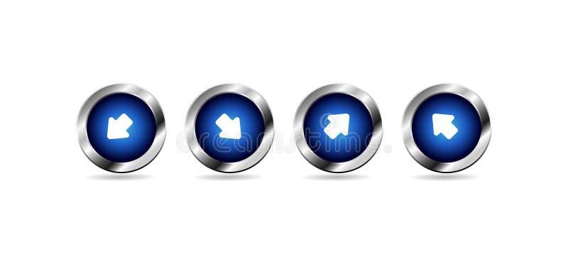 Vector glanzende blauwe Webknopen royalty-vrije illustratie