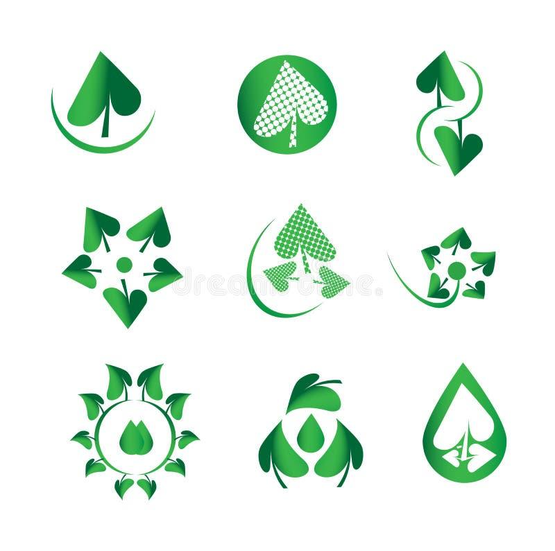 Vector glanzende groene bladreeks, aard, ecologie, groene dalingen, water, biologie, organische, natuurlijke logotype, de pictogr royalty-vrije illustratie