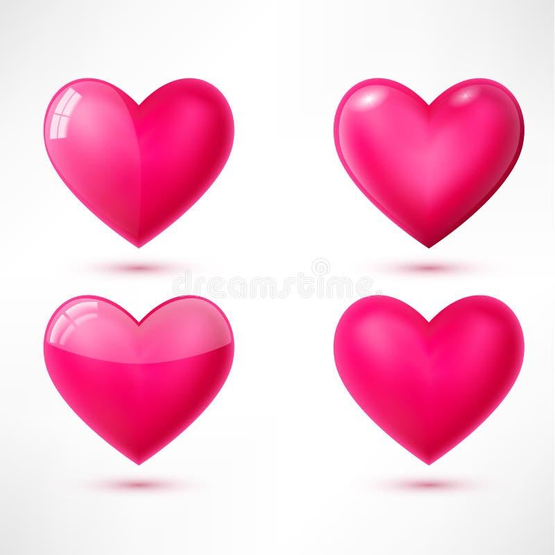 Vector glanzende harten met schaduwen stock illustratie