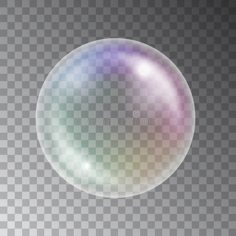 Vector glanzende kleurrijke die zeepbel op donkere achtergrond wordt geïsoleerd stock illustratie