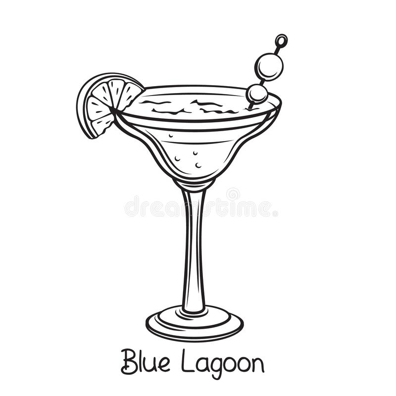 Blue Lagoon cocktail. Vector glass of Blue Lagoon cocktail with lime slice in retro hand drawn style. Retro illustration summer alcohol drink royalty free illustration