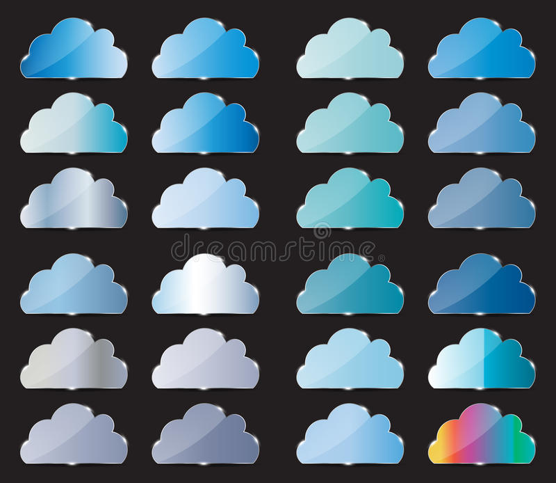 Vector glass button with cloud icon stock illustration