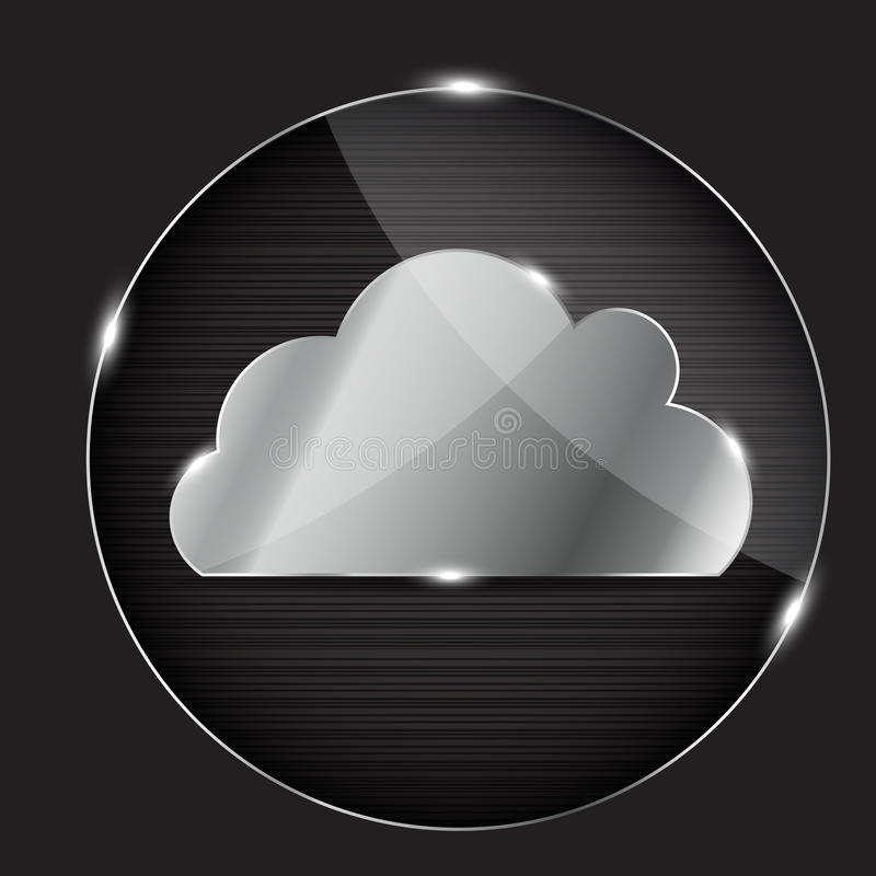 Vector glass button with cloud icon royalty free illustration