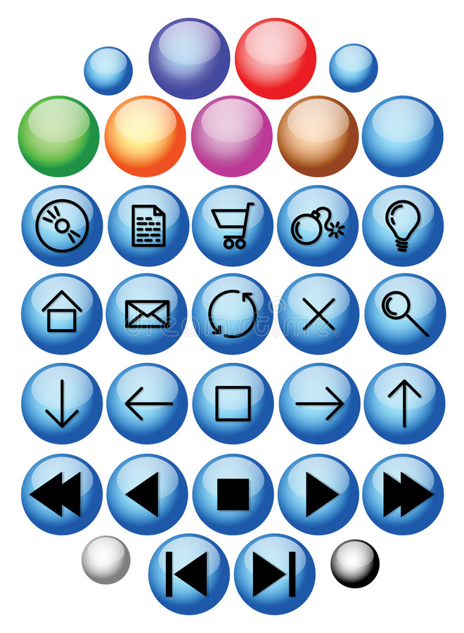 Vector glass buttons. Set of vector glass buttons royalty free illustration