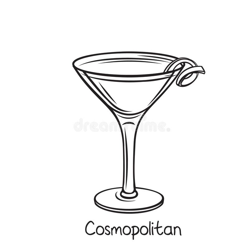 Cosmopolitan cocktail with lime vector illustration