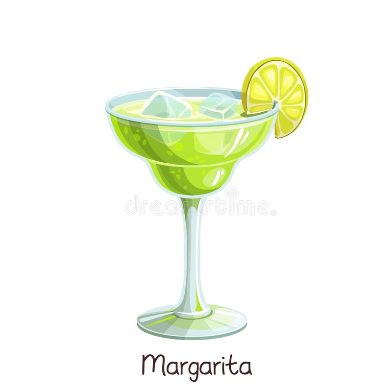 Margarita cocktail with lime royalty free illustration