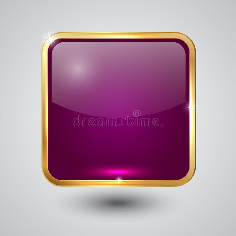 Vector Glass Square Button With Round Corners And Royalty Free Stock Photography