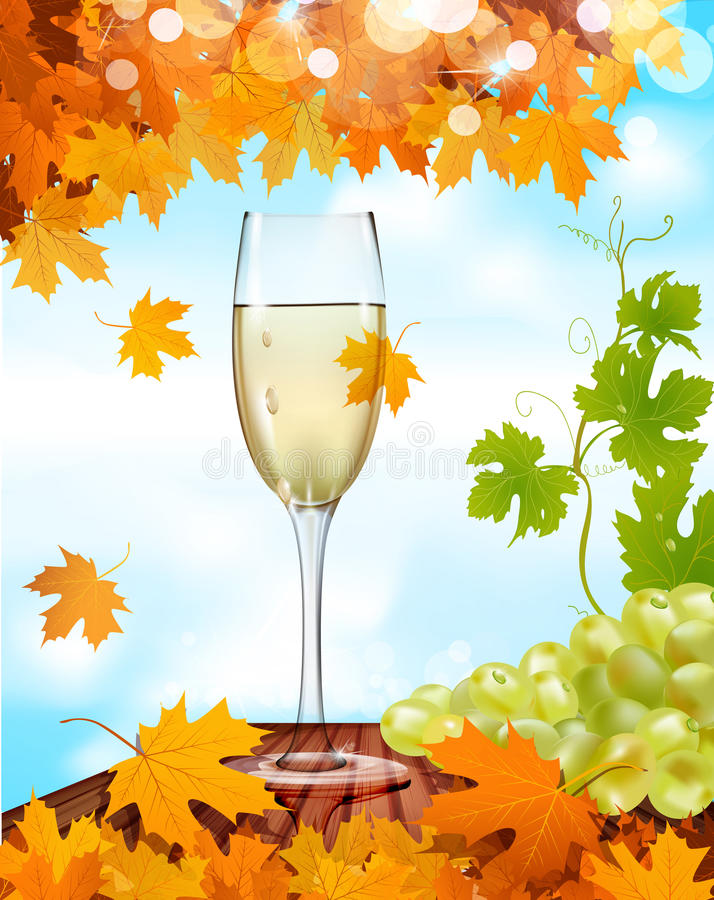 Download Vector A Glass Of Wine Standing On A Wooden Table Stock Vector - Image: 20263690