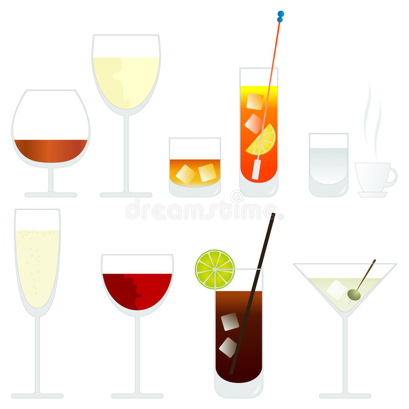 Vector glasses. Vector wine and cocktail glasses royalty free illustration