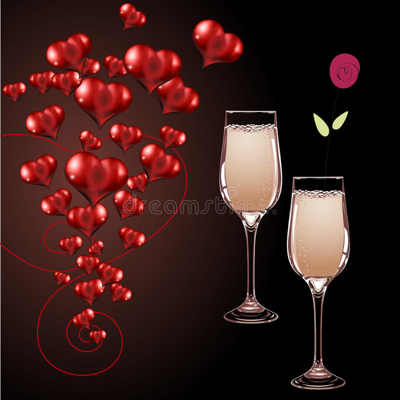 Vector glasses of champagne and heart