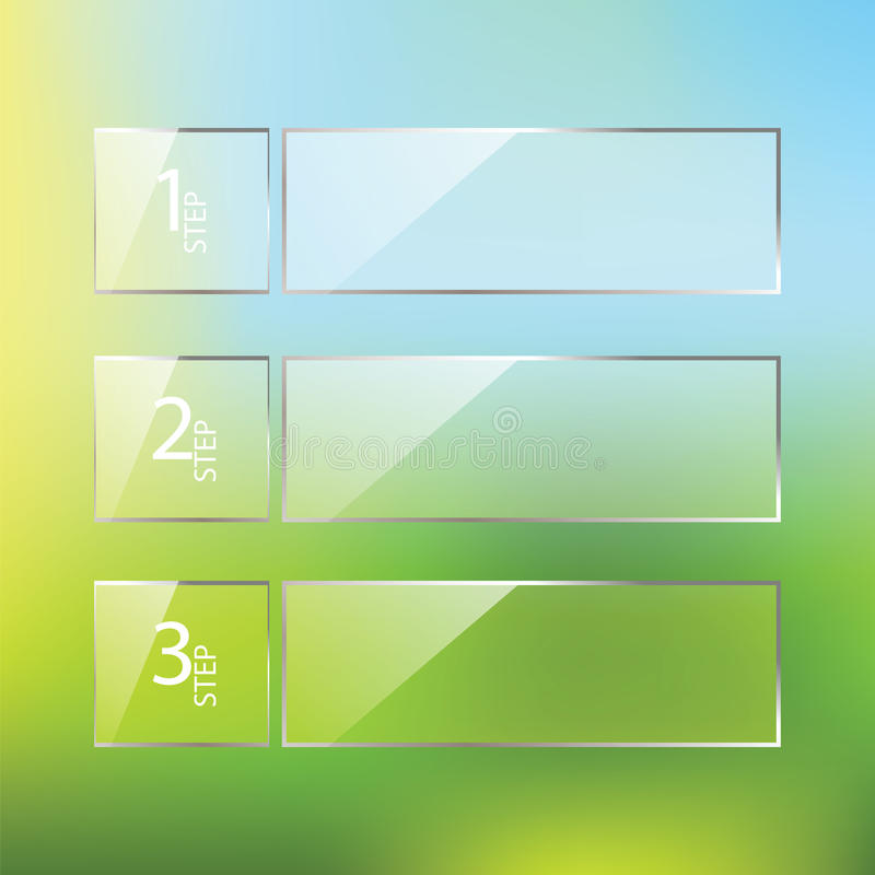 Vector glatte zwei drei Schritte, Fortschrittswahlfahnen mit vektor abbildung