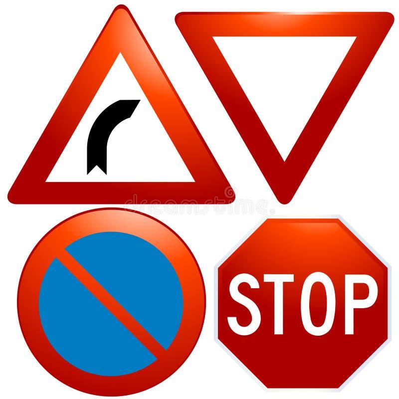 vector glazige verkeerstekenpictogrammen stock illustratie