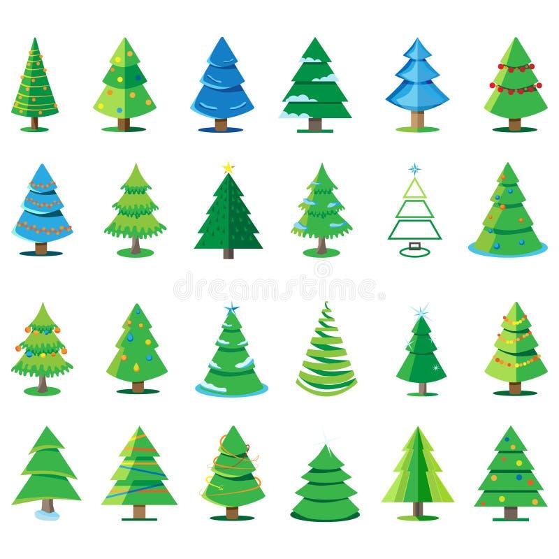 Vector gli alberi di Natale decorati con le palle e le stelle, isolate su un fondo bianco Concetto di vacanze invernali illustrazione di stock