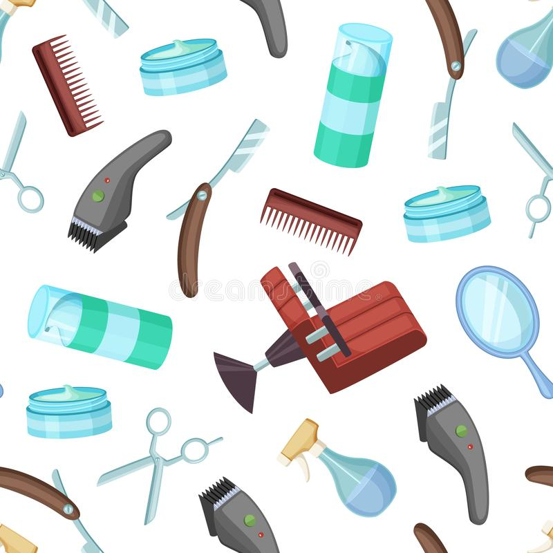 Vector gli elementi modello del fumetto del barbiere o del parrucchiere o l'illustrazione del fondo illustrazione vettoriale